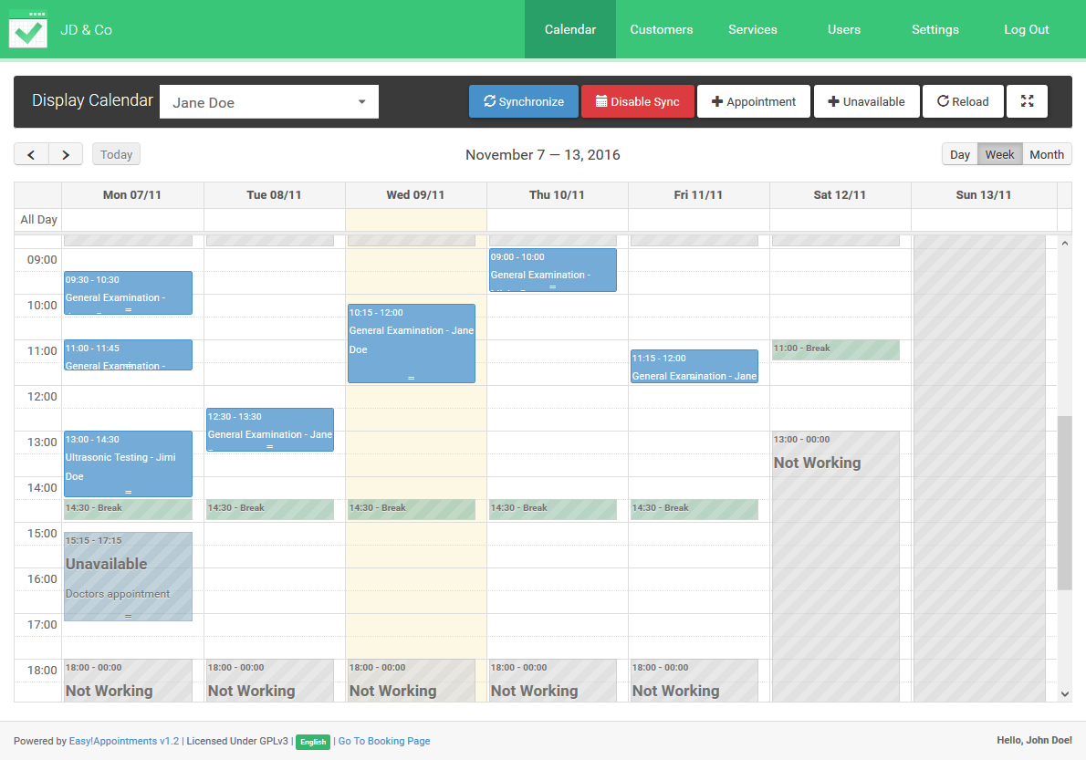 Appointment plan display in backend calendar page.